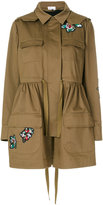 RED Valentino flower patch parka coat - women - Silk/Cotton/Polyester - 42