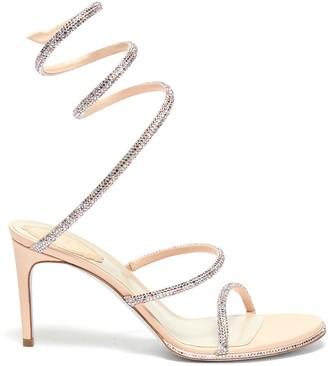 Rene Caovilla 'Cleo' strass coil anklet satin heel sandals