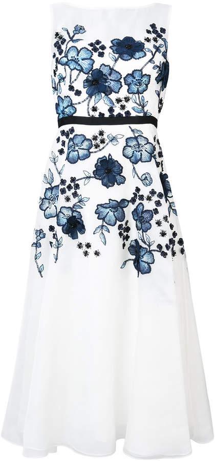 Lela Rose floral appliqué flared dress