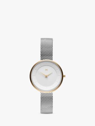 MVMT Women's Mod Mesh Bracelet Strap Watch, Silver/White D-FB01-SG