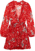 IRO Vera Ruffled Floral-print Georgette Wrap Mini Dress