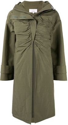 AKIRA NAKA Ruched Front Hooded Coat
