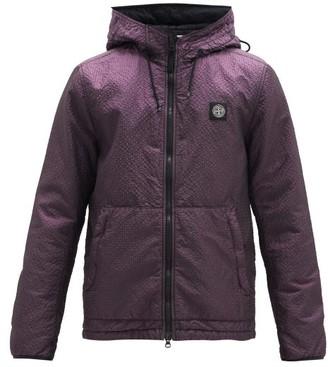 Stone Island Logo-patch Shell-seersucker Hooded Jacket - Purple