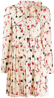 RED Valentino Arrow Print Pleated Dress