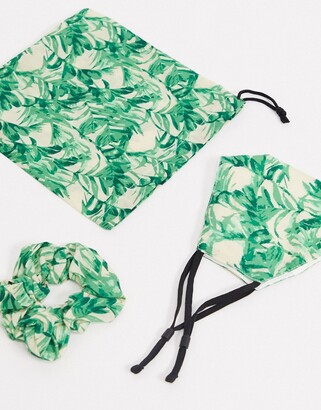 ASOS DESIGN palm print face covering with pouch & scrunchie