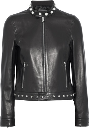 RED Valentino Embroidered Studded Leather Jacket