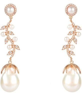 Latelita Baroque Pearl Trailing Flowers Earrings Rosegold