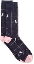 Bar III Men's Seamless Toe Patterned Bird on a Wire Dress Socks, Only at Macy's