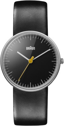 Braun Ladies Quartz 3 Hand Movement Watch with Black Leather Strap