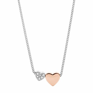 Fossil Women's Duo Hearts Two-Tone Stainless Steel Necklace