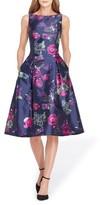 Tahari Women's Floral Jacquard Tea Length Dress
