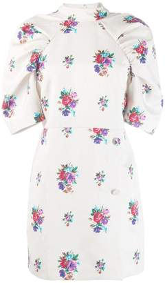 MSGM floral print puff sleeve dress