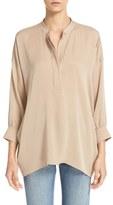 Vince Women's Shirred Drape Stretch Silk Pullover
