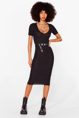 Nasty Gal Womens Ribs Got to be You Fitted Midi Dress - Black