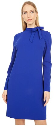 Calvin Klein Tie Neck Sheath Dress (Ultramarine) Women's Dress