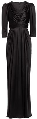 Dolce & Gabbana Gathered Silk Slit Gown