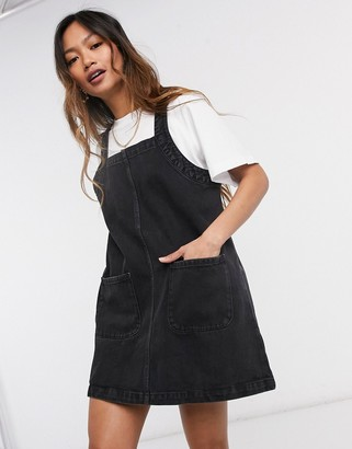 Monki pinafore dress in black