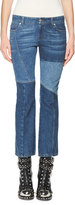 Alexander McQueen Patchwork Kick Crop Jeans, Light Blue