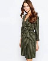 Ichi Andora Striped Tie Waist Dress