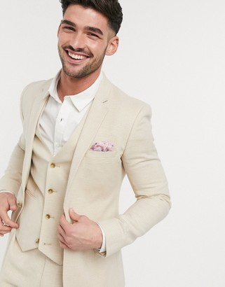 ASOS DESIGN wedding super skinny suit jacket in stretch cotton linen in stone houndstooth