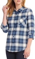 Pendleton Cotton Flannel Long Sleeve Half Zip Navy Plaid Tunic