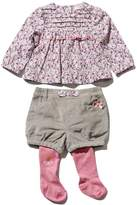 M&Co Floral top shorts and tights set