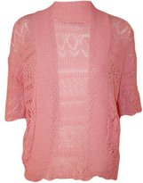 FashionMark Plus Size Women's Crochet Knitted Cardigan Shrug (Baby Pink)