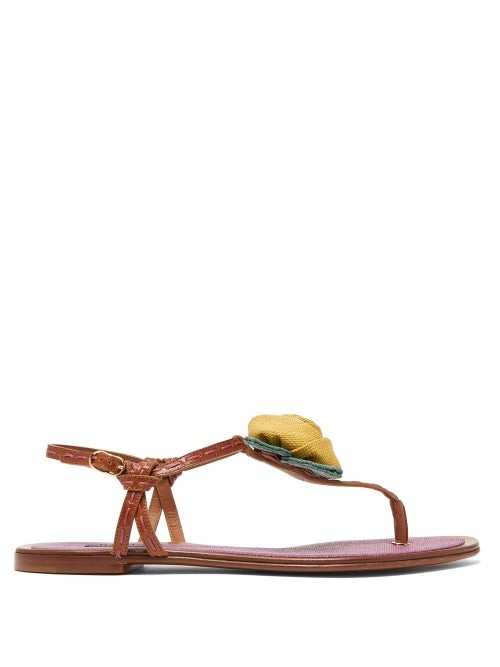 Dolce & Gabbana Rose-applique Leather Sandals - Tan Multi