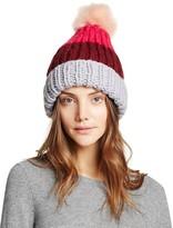 Nor La Color Block Cuff Hat with Faux Fur Pom-Pom