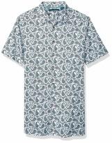 L BUGATCHI Mens Tailored Night Blue Paisley Short Sleeve Shirt