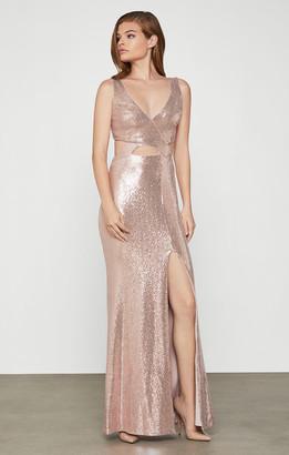 BCBGMAXAZRIA Metallic Cutout Evening Dress
