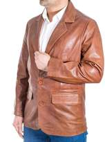 A to Z Leather Mens Chestnut Brown Italian Leather Fitted Two Button Classic Leather Blazer jacket