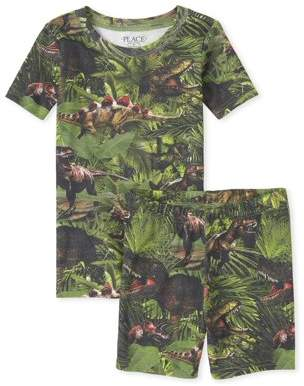 Children's Place The The Childrens Place Boys Short Sleeve All Around Forrest Print Pajama Short Set(Little Boys and Big Boys)
