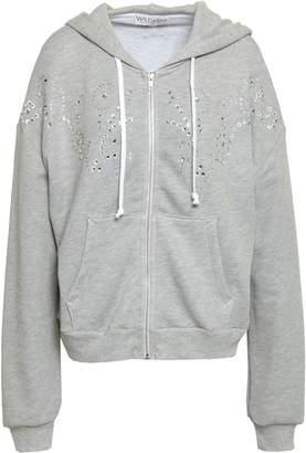 Wildfox Couture Crystal-embellished Melange Cotton-blend Hooded Jacket