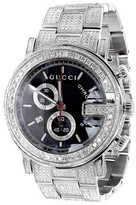 Gucci Ya10133414 Ct Full Diamond Custom White PVD 101 G Real Mens 44 mm Watch