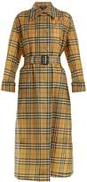 Burberry Point-collar printed-check trench coat