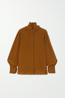 Victoria Beckham Ruffled Silk-chiffon Blouse - Camel
