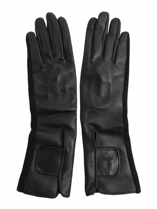 Tru Trussardi nappa leather and knit gloves