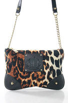 Juicy Couture Brown Animal Print Gold Tone Chain Strap Shoulder Handbag New