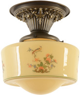 Rejuvenation Semi-Flush Fixture W/Revival-Style Pheasant Shade C1928