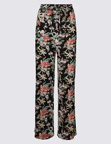 Marks and Spencer Linen Rich Floral Print Flared Trousers