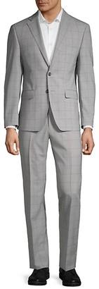 Calvin Klein Slim-Fit Tonal Windowpane Suit