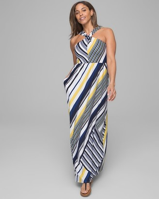 Invisible Support Halter Knot Maxi Dress with Built-In Bra