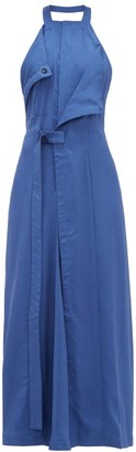 Jacquemus Marco Draped Open-back Twill Dress - Womens - Blue