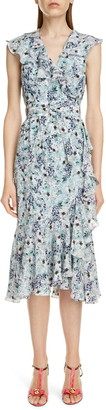 Erdem Floral Print Sleeveless Midi Wrap Dress