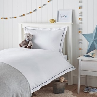 The White Company Henry Cord Bed Linen Set, White Blue, Cot Bed