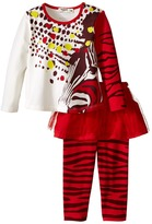 Junior Gaultier Two-Piece Set with Printed Tee and Leggings with Tulle Girl's Active Sets