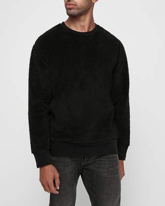 Express Reversible Sherpa Fleece Crew Neck Sweatshirt