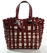 Nancy Gonzalez Red Crocodile Ivory Leather Woven Toggle Tote Shoulder Handbag