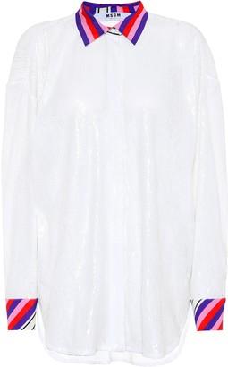 MSGM Sequinned oversized shirt